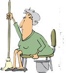 1296002-Clipart-Of-A-Tired-Or-Lazy-Sitting-Senior-White-Woman-With-A-Mop-And-Bucket-Royalty-Free-Vector-Illustration.png